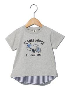 ロケット柄ストライプドッキングTシャツ