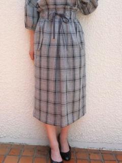 リネン調チェック柄スカート