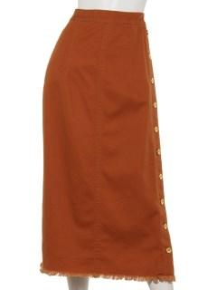 サイドボタンロングコットンデニムスカート