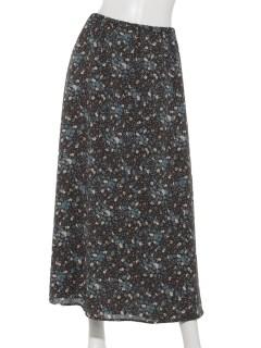 フラワープリントラップスカート