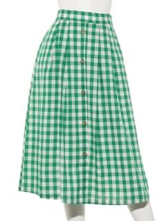 ・ギンガム前ボタンスカート