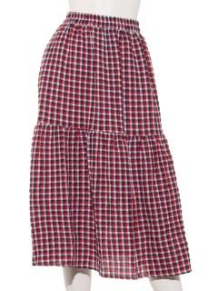 ・ツートーンギンガム切替ミディスカート