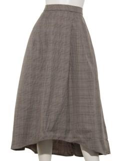 グレンチェックギャザーヘムラインスカート