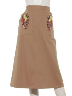 ツイルバード刺繍スカート