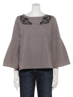 0ブロード刺繍袖フレアブラウス