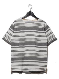1ジャカードワッフルマルチボーダーTシャツ