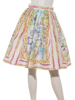 パリ柄プリントスカート