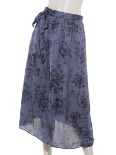 【SIMPLICITE】Peサテンシフォンハナプリントラップスカート