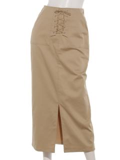 【SIMPLICITE】フロントレースUPロングタイトスカート