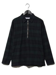 T-チェックハーフジップシャツ