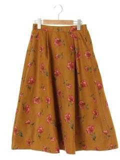 【RAYCASSIN】フェイクスエード花柄スカート