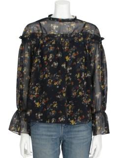 【chocol raffine robe】mSET2点花柄ブラウス+キャミソール