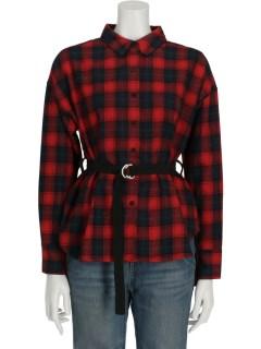 【chocol raffine robe】mベルト付きチェックネルシャツ