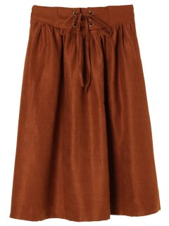 【RAYCASSIN】ウエストレースアップフレアースカート