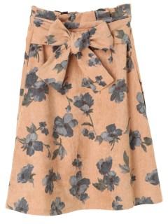 【RAYCASSIN】花柄ウエストリボンフレアースカート