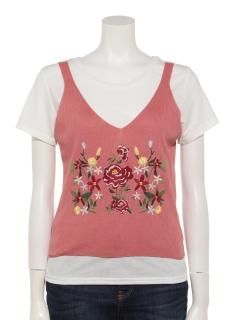 【RAYCASSIN】SET2点花刺繍ニットタンク×Tシャツ