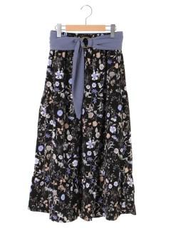 【OLIVEdesOLIVE】サッシュベルト付花柄ティアードスカート