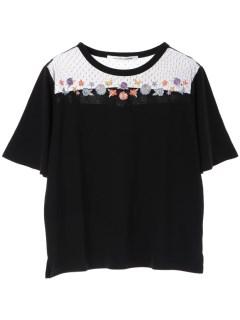 【RAYCASSIN】刺繍入りチュール切替Tシャツ
