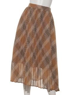 【chocolraffinerobe】チェックプリーツロングスカート