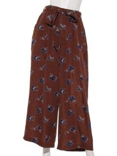 【chocol raffine robe】リボンベルト付花柄ワイドパンツ