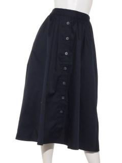 【chocol raffine robe】フロント釦ギャザーミディ丈スカート