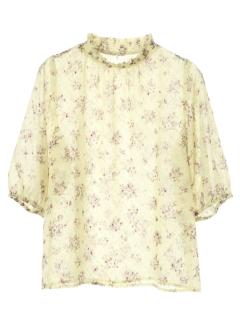 【ELENCARE DUE】ドビー花柄5分袖ブラウス