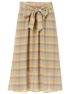 【SUGAR SPOON】リボンベルト付チェックフレアスカート