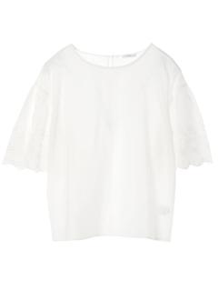 【LHELBIE】スカラップ刺繍5分袖ブラウス