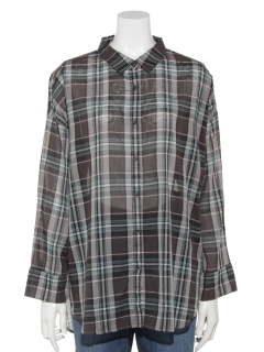 【chocol raffine robe】シアーチェックシャツ