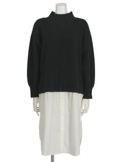 【chocol raffine robe】ニット×シャツドッキングワンピース