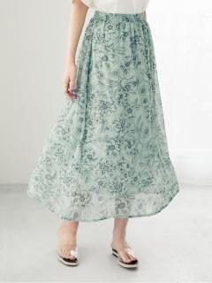 【ELENCARE DUE】 ラインフラワーptスカート