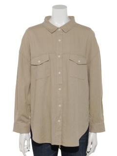 【chocol raffine robe】リネン両ポケットシャツ