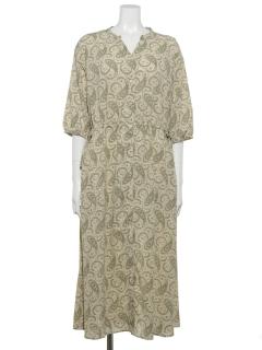 【chocol raffine robe】ペイズリー柄ウエストリボンワンピース