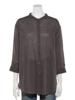 【chocol raffine robe】バンドカラー7分袖シャツ