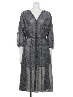 【chocol raffine robe】リーフドット柄羽織りワンピース