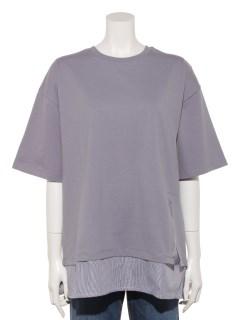 【chocol raffine robe】裾スリットレイヤード5分袖プルオーバー
