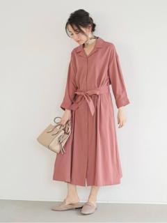 【SUGAR SPOON】オープンカラーシャツワンピ