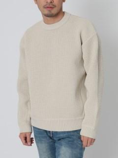 リサイクルポリエステルあぜ編みセーター
