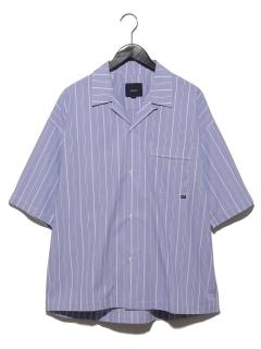 ワイドストライプ開襟半袖シャツ