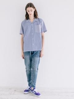 ランダムストライプ開襟半袖シャツ