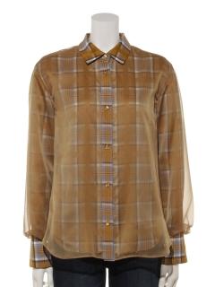 H レイヤードチェックシャツ