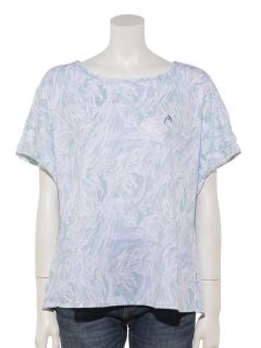 ドライ幾何プリント5分袖Tシャツ