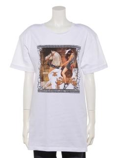 馬絵画Tシャツ