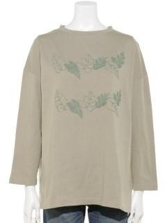ハイビスカス刺繍Tシャツ