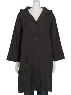コート刺繍フーデットコート