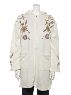 フード付き刺繍コート