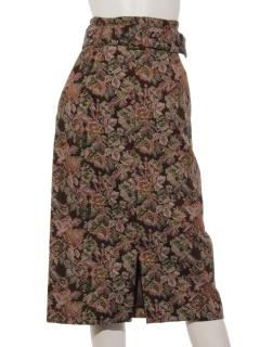 ベルト付ジャガードタイトスカート