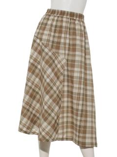 ・マドラスチェック切替スカート