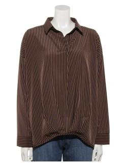 裾タックストライプシャツ