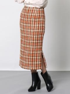 ツイードサイドスリットスカート